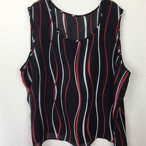 Red Black and White Sheer Tank 26/28 Plus